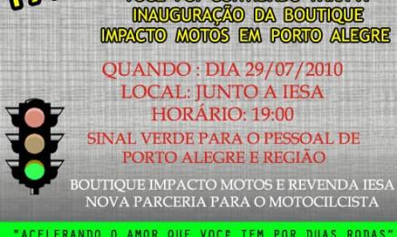 Convite para inauguração da Impacto Motos Porto Alegre