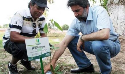 Senador Raupp regou uma muda plantada em Ji-Paraná