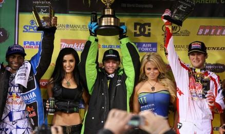Pódio da categoria Supercross em A1 com Stewart, Villopoto e Dungey