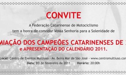Convite para o evento de premiação da FCM em São José