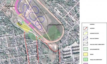 Desenho do traçado da pista do Jóquei Clube em Santa Maria