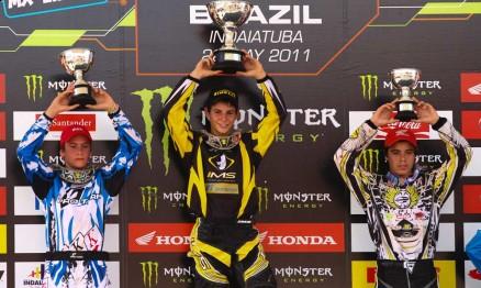Pódio do GP Brasil de Motocross categoria 150 em Indaiatuba