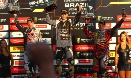 Pódio do GP Brasil de Motocross categoria MX1 em Indaiatuba