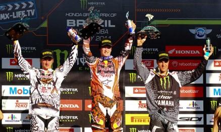Pódio do GP Brasil de Motocross categoria MX2 em Indaiatuba