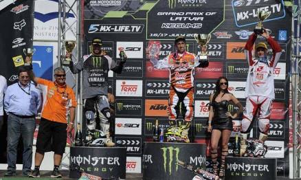 Pódio da categoria MX1 no GP da Letônia