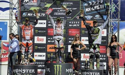 Pódio da categoria MX2 no GP da Letônia