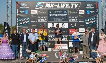 Pódio da categoria 65 no Mundial de MX Júnior 2011 na Itália