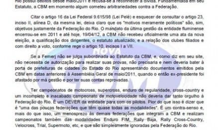 CBM divulga nota oficial de esclarecimento a Femerj