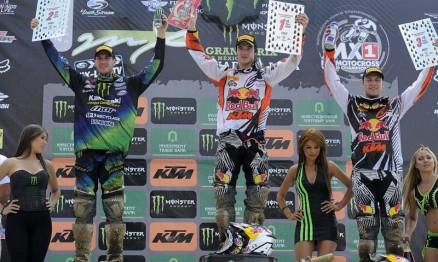 Pódio da MX2 no GP do México com Herlings no ponto mais alto