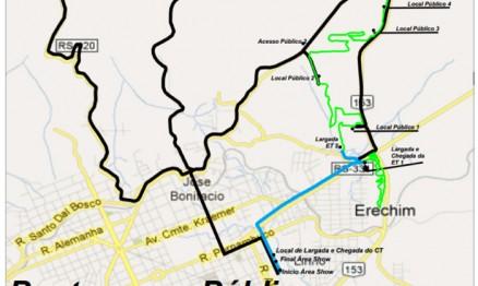 Mapa de Erechim por onde a prova irá ser percorrida
