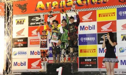 Pódio da categoria 65 na etapa do Arenacross em Goiânia