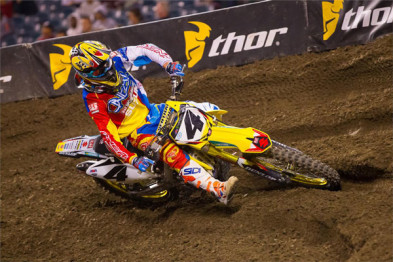 2015; 2015 AMA Supercross; Action Shot; Anaheim; Blake Baggett; Dirt Bike Race; Offroad Racing; Suzuki