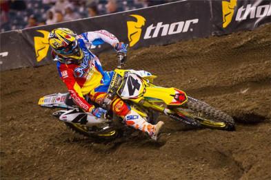 2015; 2015 AMA Supercross; Action Shot; Anaheim; Blake Baggett; Dirt Bike Race; Offroad Racing; Suzuki