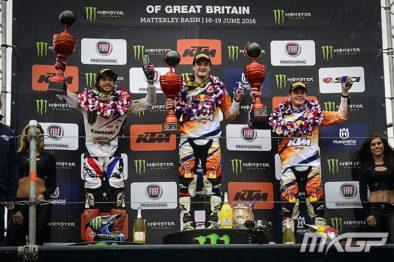 Pódio da MX2 do GP da Grã Bretanha