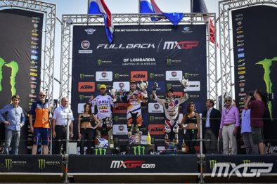 Pódio da MX2 do GP da Lombardia