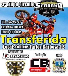 3a etapa do Circuito Serrano Amador de Motocross é transferida
