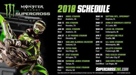Calendário do AMA Supercross 2018 é anunciado