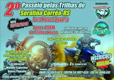 Trilha de Serafina Correa terá motos e quadriciclos nesse domingo