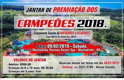 Festa de premiação 2018 acontece em Machadinho nesse dia 9 de fevereiro